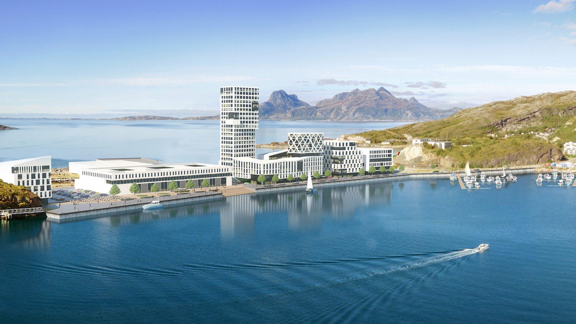 Høyhus og kontorer på Burøya. Hav i forkant og Landegode i bakgrunnen